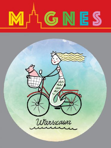 syrenka na rowerze 370x493 - Magnes