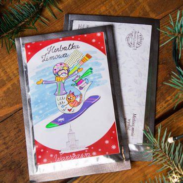 IMG 0008 1 370x370 - Pocztówka herbaciana - Zimowa - Syrenka snowboard